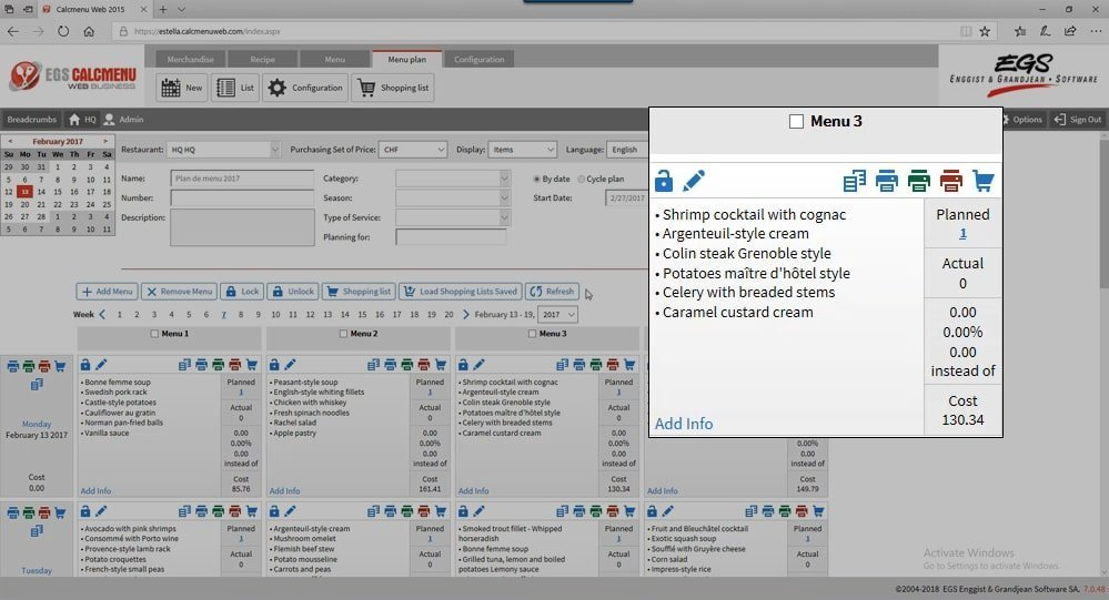 Egs Calcmenu Culinary Software For Commercial Kitchens