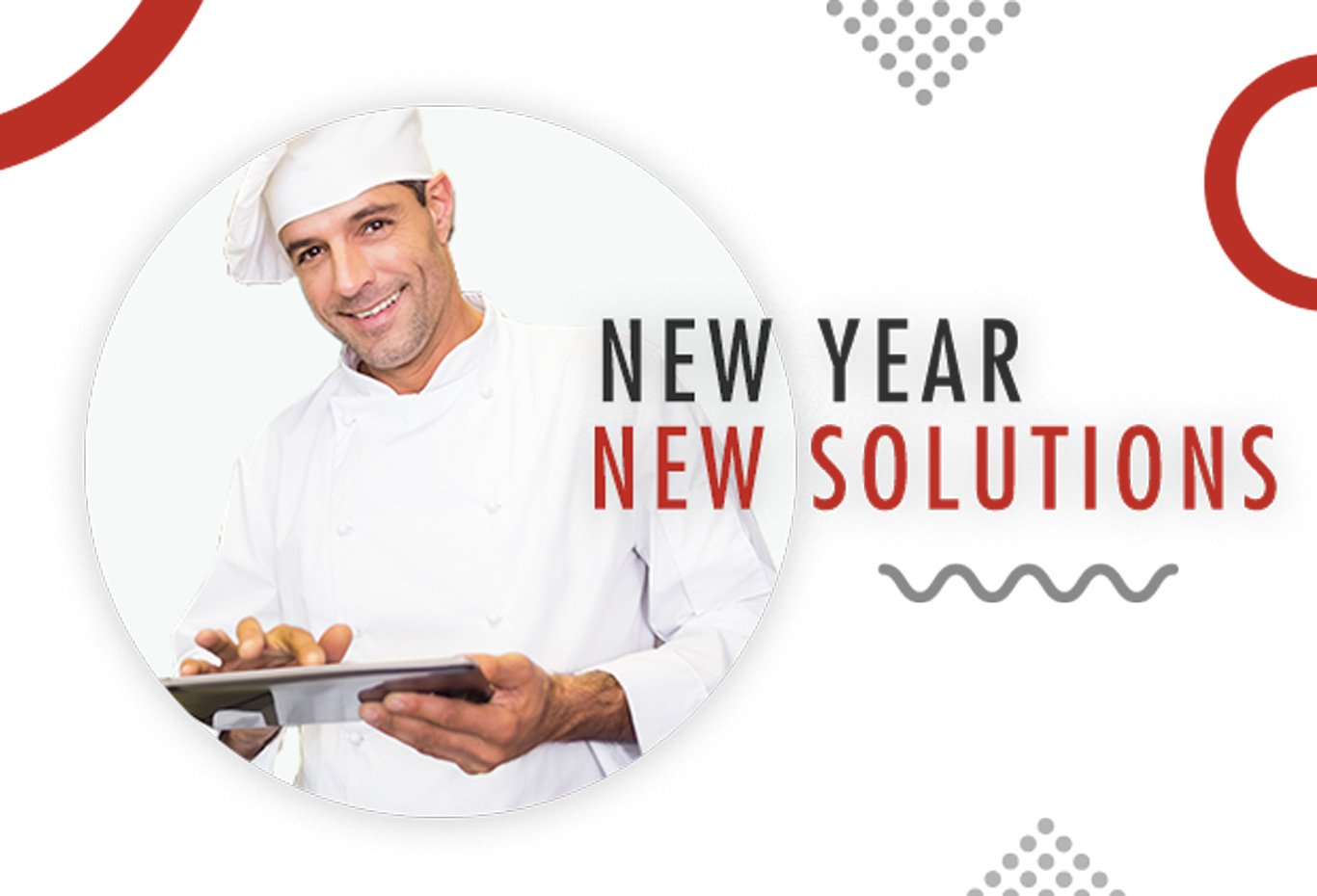 Banner, New Year. New Solutions, male chef smiling with tablet